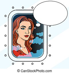 Girl in the airplane window pop art vector