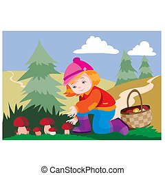 girl in the autumn in the forest picks mushrooms in a basket, vector illustration, cartoon illustration,