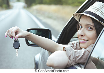 girl in the car with the key