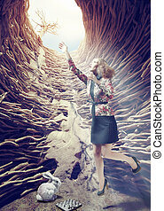 girl in the deep hole - girl flies out of a deep hole toward...