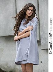 Girl in the gray coat