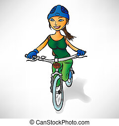 Girl in the green rides a bike