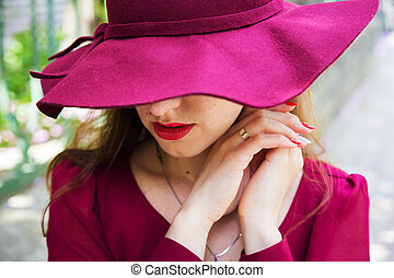 girl in the hat, red dress