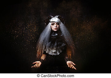 girl in the image of  witch with a lush white hair