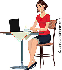 girl in the Internet cafe - girl at a table with a laptop