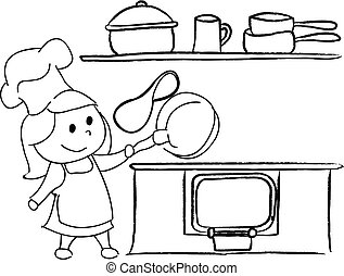 girl in the kitchen drawing