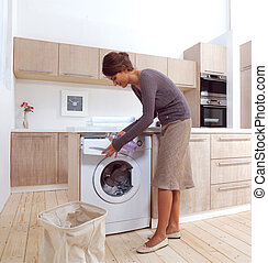 girl in the laundry room a