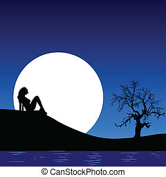 girl in the nature on the moonlight vector illustration