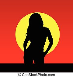 girl in the nature vector silhouette