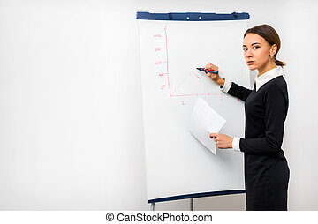 girl in the office draws a graph on a whiteboard