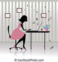 Girl in the office prints