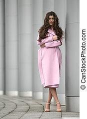 Girl in the pink coat