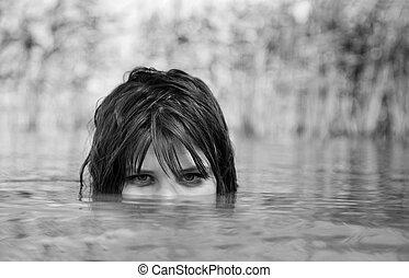 Girl in the river.