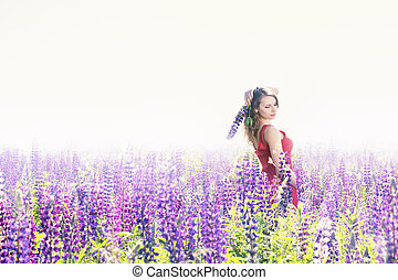 Girl in the sea of lupines