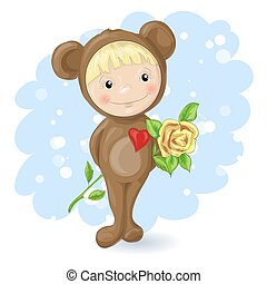 Girl in the suit of a teddy bear with a rose.