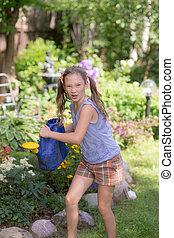 girl in the summer garden