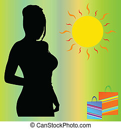girl in the sun with gifts vector silhouette