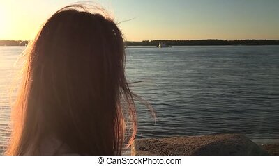 girl in the sunset views River