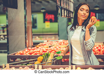 Girl in the supermarket