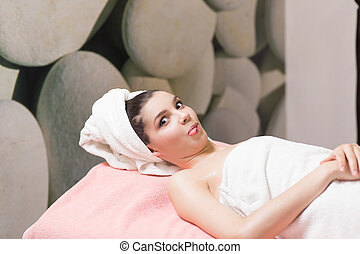 girl in the towel after spa
