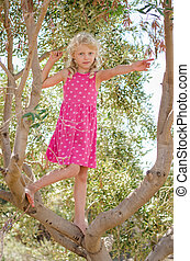 girl in the tree top