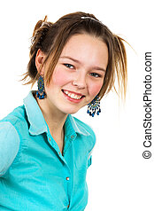 girl in the turquoise shirt with a white background