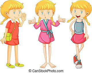 Girl in three clothes
