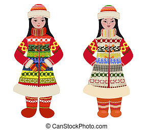 girl in traditional costume of northern peoples