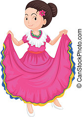 girl in traditional dress - illustration of a girl dancing ...