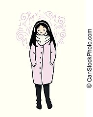 Girl in trendy style on white background. Girl in a coat, scarf and boots is listening to music. Cute cartoon character.