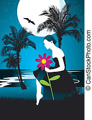 Girl in tropical beach at night