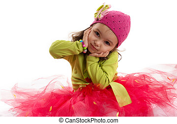 Girl in tutu and hat with butterfly - Adorable girl in tutu...