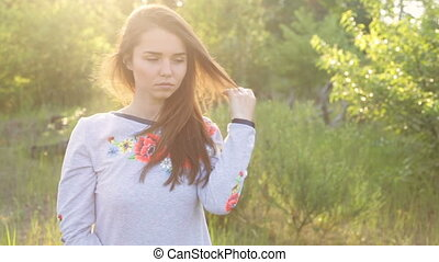 Girl in Ukrainian embroidered outdoor - A girl in Ukrainian...