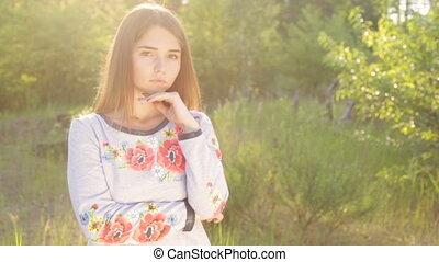 Girl in Ukrainian embroidered outdoor