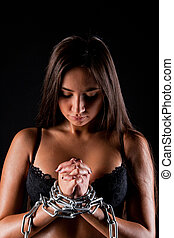 girl in underwear with chains - Young beautiful girl naked...