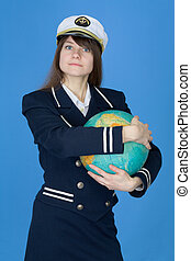 Girl in uniform embrace globe