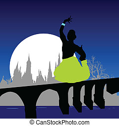girl in various pose on the bridge vector illustration