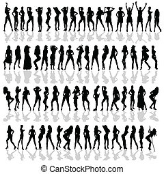 girl in various poses black vector silhouette on white...