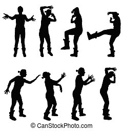 girl in various poses for violence silhouette