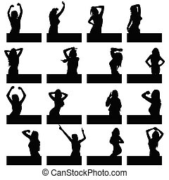 girl in various poses on black silhouette