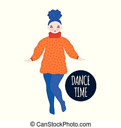 Girl in warm dress dancing and smiling. Pastime. Hand drawn cute cartoon character. Unique design. Freehand style