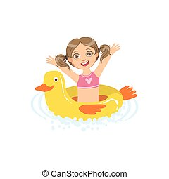 Girl In Water With Toy Duck Float