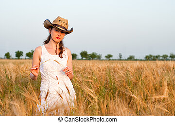 Girl in wheat field