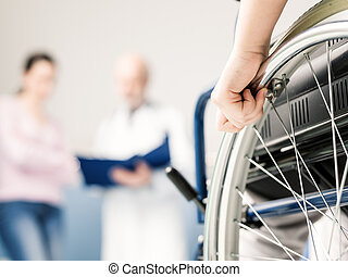 Girl in wheelchair at the hospital