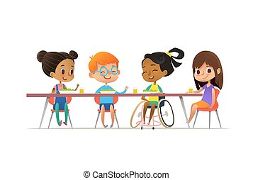 Girl in wheelchair sitting at table in canteen and talking to her friends. Happy multiracial kids having lunch. School inclusion concept. Vector illustration for website, advertisement, poster, flyer.