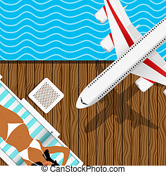 girl in white bikini on the deck chair with airplane abowe