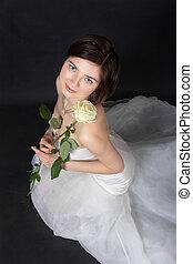 girl in white dress of the bride