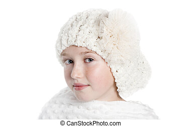 Girl in White hat and shawl