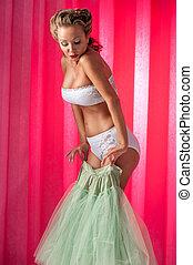 Girl in white lingerie