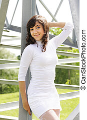 Girl in white outdoors